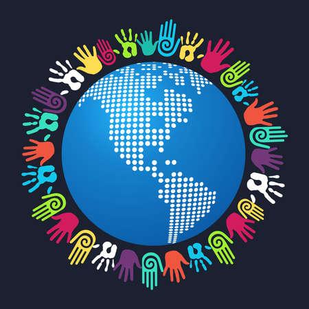 conserve: Personnes main color� autour de l'Am�rique la carte du monde. fichier vectoriel couches pour une manipulation facile et la coloration personnalis�e.