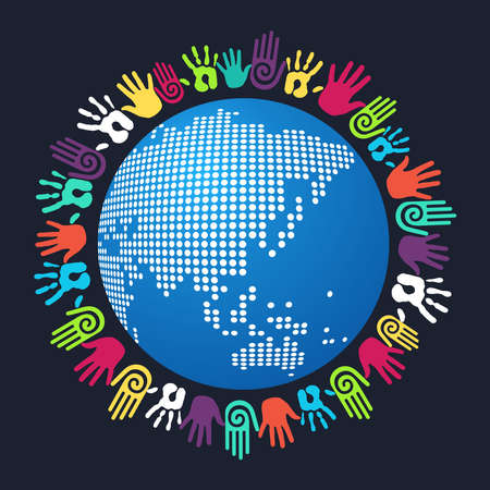 charity  symbol: Colorful people hand around Asian world map. Vector file layered for easy manipulation and custom coloring.