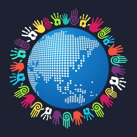 mundo manos: Gente colorida mano alrededor de mapa del mundo asiático. Archivo vectorial en capas para la manipulación fácil y colorante de encargo. Vectores