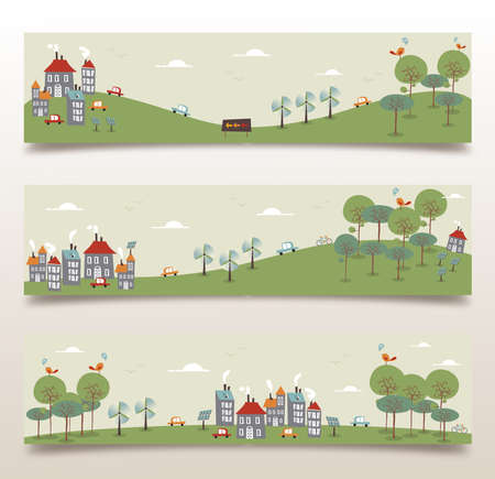 Ecology city and forest idea banner set. Vector illustration layered for easy manipulation and custom coloring. Vector