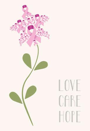 핑크 유방암 리본 개념 꽃. 벡터 일러스트 레이 션 쉬운 조작 및 사용자 지정 색상에 계층.