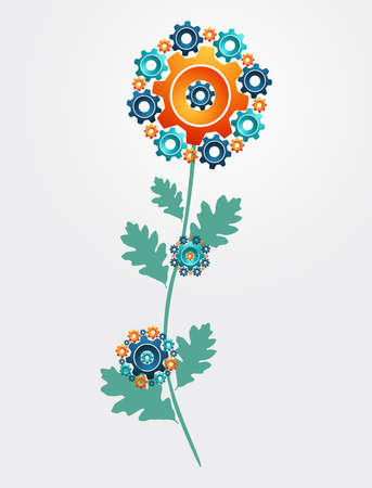 gears concept: Industrial innovation gears concept flower. Vector illustration layered for easy manipulation and custom coloring.