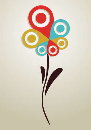 Spring Geo position system multi color mark petal flower background. Vector illustration layered for easy manipulation and custom coloring.