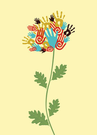 Diversity flower hands illustration. Vector illustration layered for easy manipulation and custom coloring. Vector