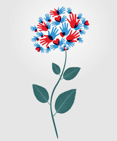 Diversity people flower hands illustration. Vector illustration layered for easy manipulation and custom coloring.