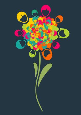 Social media netwerken bloem met mensen profiel pictogrammen bloemblaadjes achtergrond. Vector illustratie gelaagd voor eenvoudige manipulatie en aangepaste kleuren.