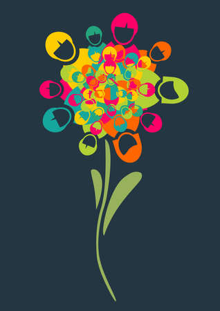 Social media networks flower with people profile icons petals background. Vector illustration layered for easy manipulation and custom coloring.