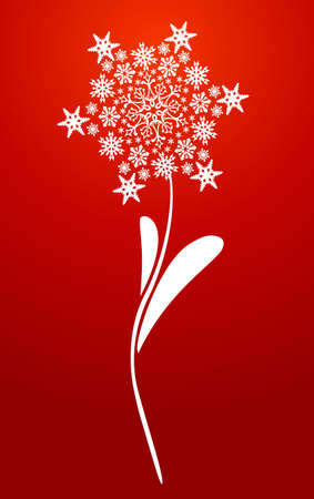 White Christmas snowflakes flower over red background. Vector illustration layered for easy manipulation and custom coloring. Stock Vector - 20602737