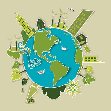 desarrollo sustentable: Vaya concepto de mundo verde. Industria el desarrollo sostenible con la conservaci�n del medio ambiente Globo. Archivo de la ilustraci�n del vector en capas para la manipulaci�n f�cil y colorante de encargo.