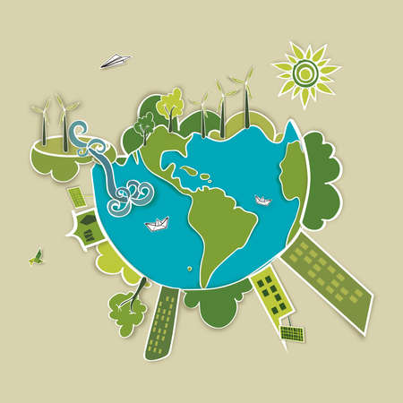 Go green world. Industry sustainable development with environmental conservation background illustration. Vector file layered for easy manipulation and custom coloring. Vector