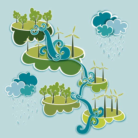 water town: Go green energy industry sustainable development with environmental conservation background. Vector file illustration layered for easy manipulation and custom coloring. Illustration