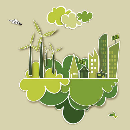 future background: Ecologic town, sustainable energy industry development background. Vector file layered for easy manipulation and custom coloring.