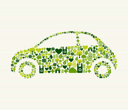 eco friendly: Green vintage light car design eco friendly hand drawn  . This illustration is layered for easy manipulation and custom coloring Illustration