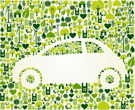 Green vintage light car design eco friendly sketch  . This illustration is layered for easy manipulation and custom coloring Vector