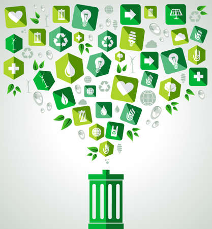 Green icon splash over trash can eco friendly set. Vector file layered for easy manipulation and custom coloring. Vector