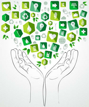 hands: Green icons open hands concept splash. Vector file layered for easy manipulation and custom coloring.