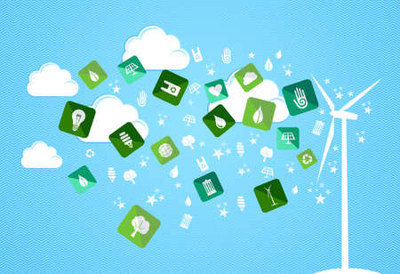 Green enviromental flat icons splash from turbine set. Vector file layered for easy manipulation and custom coloring. Vector
