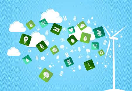 enviromental: Verde del medio ambiente iconos plana salpicaduras del conjunto turbina. Archivo vectorial en capas para la manipulaci�n f�cil y colorante de encargo. Vectores