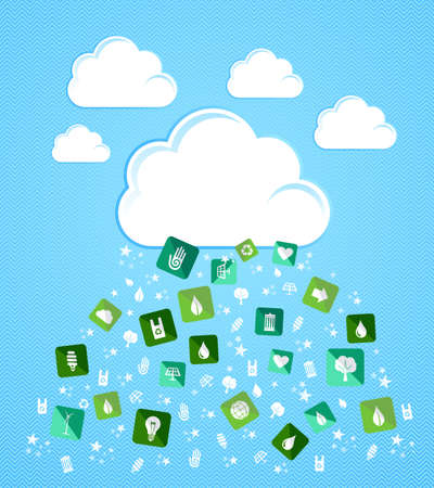 Green enviromental flat icons splash from Cloud set. Vector file layered for easy manipulation and custom coloring. Vector