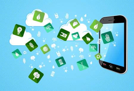 enviromental: Verde del medio ambiente iconos plana splash desde el tel�fono m�vil. Archivo vectorial en capas para la manipulaci�n f�cil y colorante de encargo. Vectores