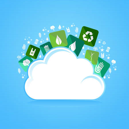enviromental: Green enviromental flat icons splash from cloud. Vector file layered for easy manipulation and custom coloring. Illustration