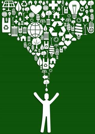 Green environment icons set splash over eco man. Vector file layered for easy manipulation and custom coloring.  Vector