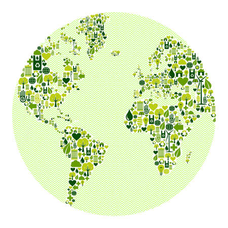 low energy: Green vintage planet earth design eco friendly icons. This illustration is layered for easy manipulation and custom coloring