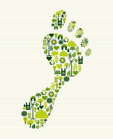 エコ ・ フレンドリーなフット プリント グリーン コンセプトのスプラッシュ。ベクター ファイルを簡単に操作およびカスタム着色層。  イラスト・ベクター素材