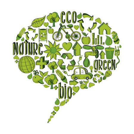 Bubble speech with environmental hand drawn icons in green. This illustration is layered for easy manipulation and custom coloring Vector