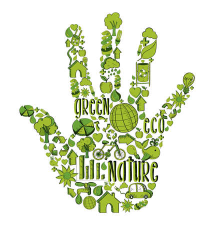 Hand with environmental hand drawn icons in green. This illustration is layered for easy manipulation and custom coloring