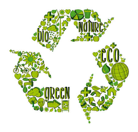 Recycle symbol with environmental green hand drawn icons.  This illustration is layered for easy manipulation and custom coloring Vector