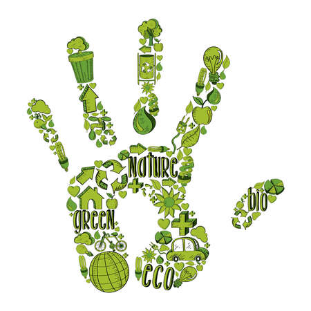 Trendy hand with environmental hand drawn icons in green. This illustration is layered for easy manipulation and custom coloring Vector