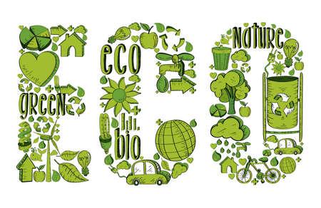 �cologie: �co Word avec des ic�nes tir�s par la main de l'environnement en vert. Cette illustration est en couches pour une manipulation facile et la coloration personnalis�e Illustration