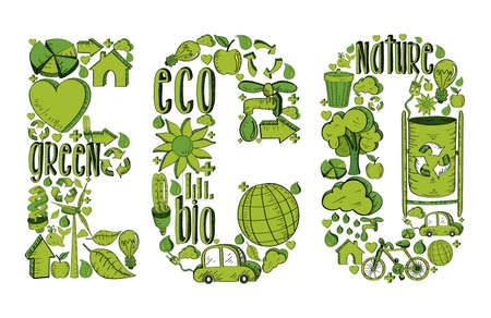 ecology  environment: Word eco with environmental hand drawn icons in green. This illustration is layered for easy manipulation and custom coloring