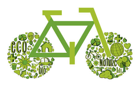 bicycle with environmental hand drawn icons in green. This illustration is layered for easy manipulation and custom coloring