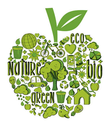 Apple with environmental hand drawn icons in green. This illustration is layered for easy manipulation and custom coloring Vector