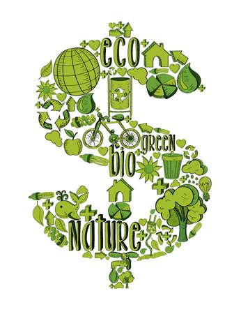 cash money: S�mbolo del dinero con el medio ambiente iconos dibujados a mano en verde. Esta ilustraci�n es en capas para la manipulaci�n f�cil y colorante de encargo Vectores