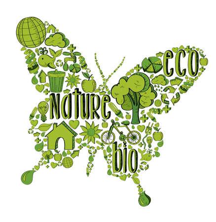 Mariposa con el medio ambiente iconos dibujados a mano en verde. Esta ilustración es en capas para la manipulación fácil y colorante de encargo Ilustración de vector