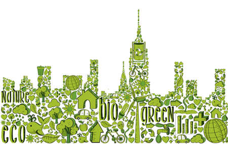 City silhouette with environmental hand drawn icons in green. This illustration is layered for easy manipulation and custom coloring Vector