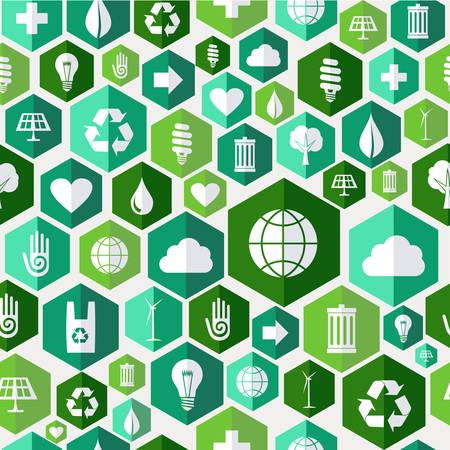Green attitude environmental icons set seamless pattern over white background. Vector