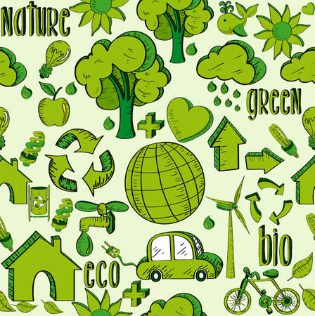 Environmental hand drawn sketch style seamless pattern icons. This illustration is layered for easy manipulation and custom coloring Vector
