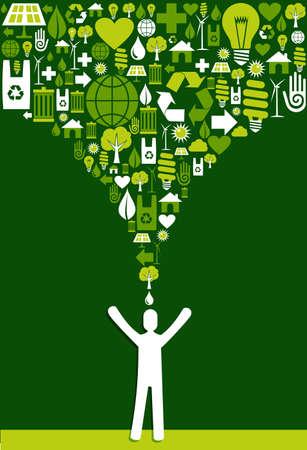 녹색 환경 아이콘 에코 남자 디자인을 통해 시작을 설정합니다. 쉬운 조작 및 사용자 지정 색상을위한 계층화 된 벡터 파일입니다.