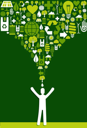 clean background: Green environment icons set splash over eco man design. Vector file layered for easy manipulation and custom coloring. Illustration