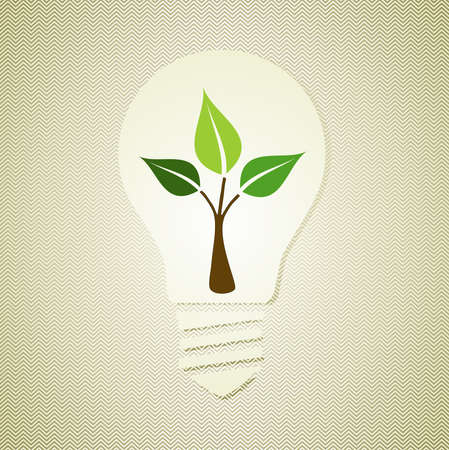 Vintage light bulb environmental hand drawn green tree. This illustration is layered for easy manipulation and custom coloring Vector