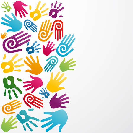 together voluntary: Colorful silhouette hand group background. Vector illustration layered for easy manipulation and custom coloring.