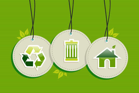 Ecologic recycling design elements circle labels set background.  Vector file layered for easy manipulation and custom coloring. Vector