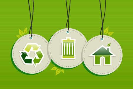ecologic: Reciclaje de elementos de dise�o etiquetas de c�rculo Ecologic poner el fondo. Archivo vectorial en capas para la manipulaci�n f�cil y colorante de encargo.