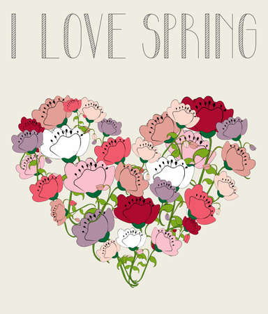 Love springtime poppy flowers on heart icon shape background.Vector illustration layered for easy manipulation and custom coloring. Vector