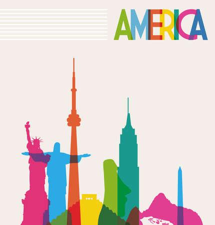 viajes: Diversidad monumentos de América, famoso horizonte colores transparencia. Ilustración vectorial en capas para la manipulación fácil y colorante de encargo.