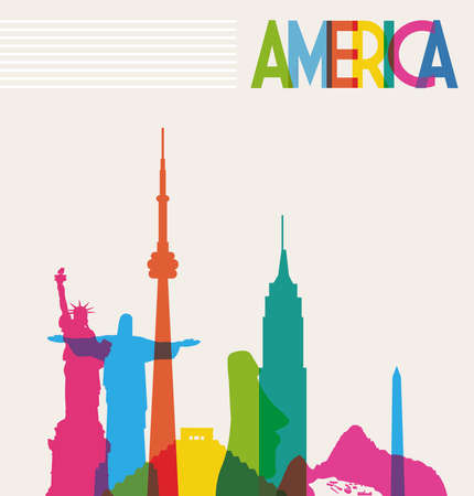 famous place: Diversity monuments of America, famous skyline colors transparency. Vector illustration layered for easy manipulation and custom coloring.